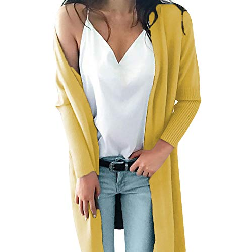 - Franterd Women Knitted Sweater Long Sleeve Open Front Cardigan with Pocket Autumn Thin Long Sweater Coat Tops