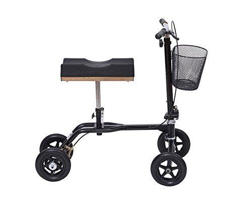 Eight24hours Steerable Foldable Knee Walker Scooter Turning Brake Basket Drive - Black