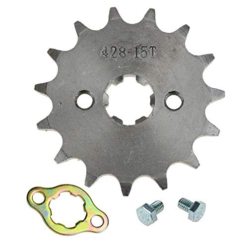 Atv Sprocket - HIAORS 428 15T 17mm Motorcycle Front Engine Sprocket for 50cc 70cc 110cc 125cc 140cc 160cc Honda TaoTao Roketa Coolster Sunl Lifan Chinese ATV Quad Dirt Bike