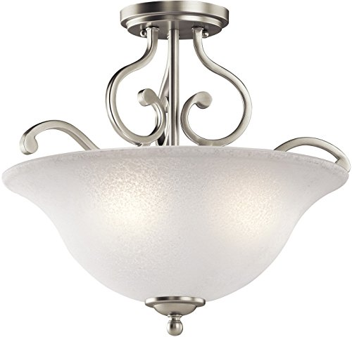 Kichler 43232NI Camerena Semi Flush Ceiling Light, Brushed N