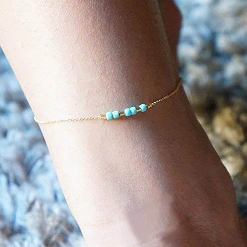 Spring Summer Anklet for Women Colorful Personalized Anklet Morse Code Ankle Bracelet Travel Beach Best Friend Gift Gold Bracelet Bridesmaid Gift Custom Jewelry
