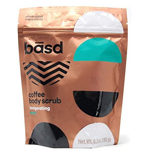 Basd, Organic Arabica Coffee Scrub, Exfoliating Body Scrub, Invigorating Mint, Toning Smoothing, Vitamin E, 6.3 Ounce Bag