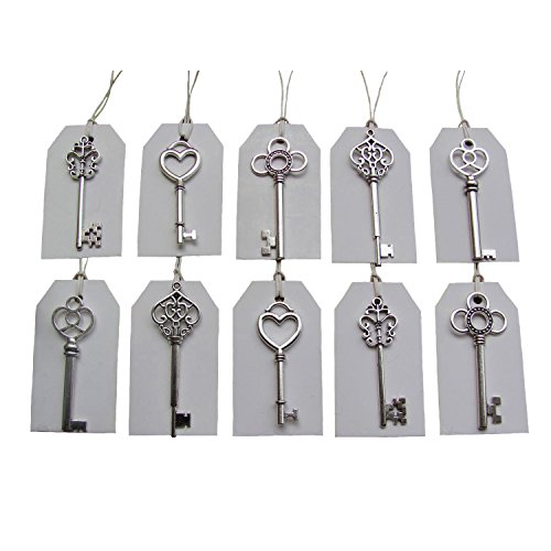 SL crafts Mixed 100pcs Antique Silver Skeleton Keys & 100 pcs White Tags Key Charms Pendants Wedding favor 53mm-68mm from SL crafts