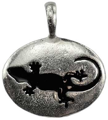 Pewter Pendant Cord Necklace - Wicca, Wiccan, Metaphysical Lizard Animal Spirit Totem Pendant Necklace - Durable Pewter - Bonus Cord Necklace