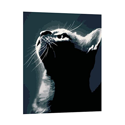 Prettyia 絵画キット 芸術作品 装飾 油絵 数字キット 猫 キャンバス