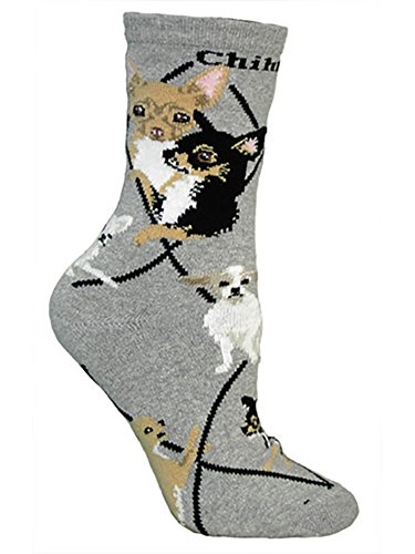 Chihuahua Puppy Dog Breed Animal Socks,Grey,Adult Shoe Size 6-8 1/2 by Wheel House Designs