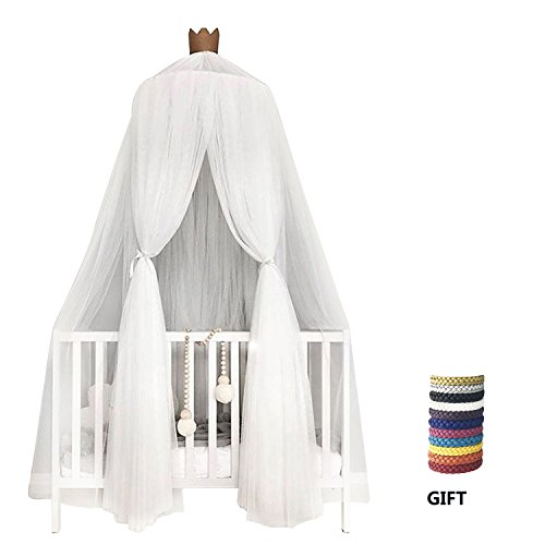 Round Crib Canopy - XINYI Children Bed Mosquito Net for Baby Kids, Crib Bed Canopy Round Dome Hanging Netting Indoor Lace Decoration white