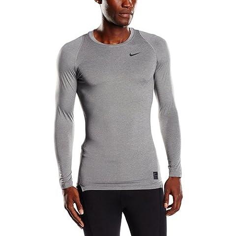 Nike Pro Combat 2.0 Mens Long Sleeve Dri-Fit Shirt Gray Size M