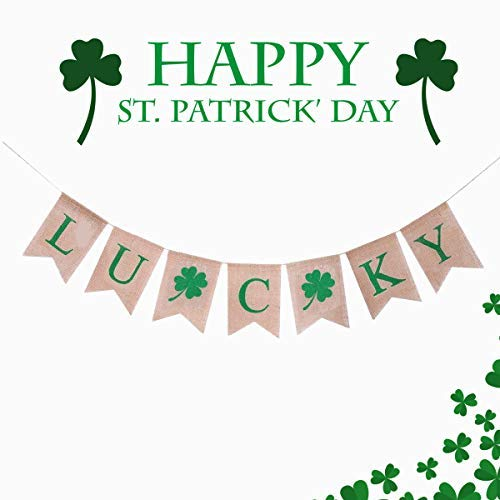 St.Patrick's Day Banners, Irish LUCKY Four Leaf Clover Shamrock Burlap Banners for Decoration (St.Patrick's Day) ()