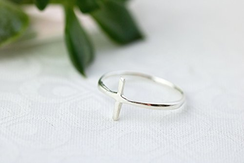 Sterling Silver Sideways Cross Ring, Size 8 (Thin Ring Cross)