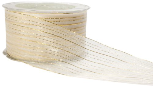 May Arts 2-Inch Wide Ribbon, Ivory Sheer with Gold Stripes ()
