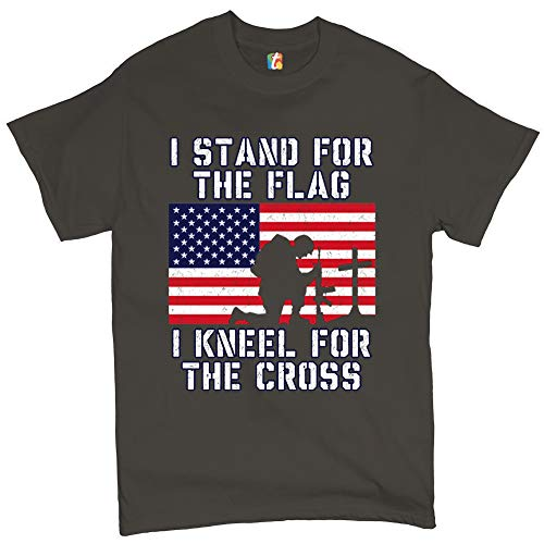 I Stand for The Flag I Kneel for The Cross T-Shirt Patriotic Military Charcoal 2XL