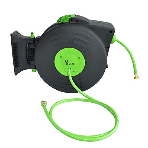 (YeStar Garden Water Hose Reel with Retractable 83.4 Feet PVC Hoses & Brass Nozzles, Lightweight Hand Carried or Wall Mounted)