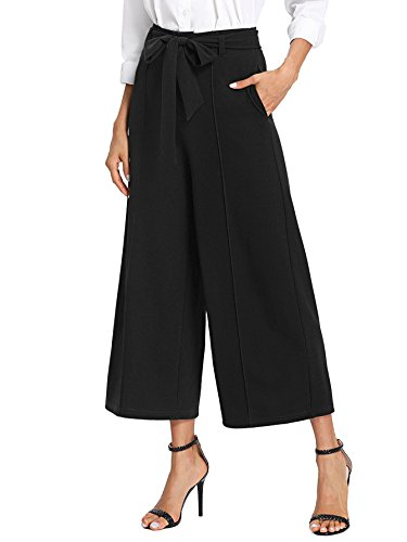 Floerns Women's Loose High Waist Wide Leg Pants with Pockets Black XS