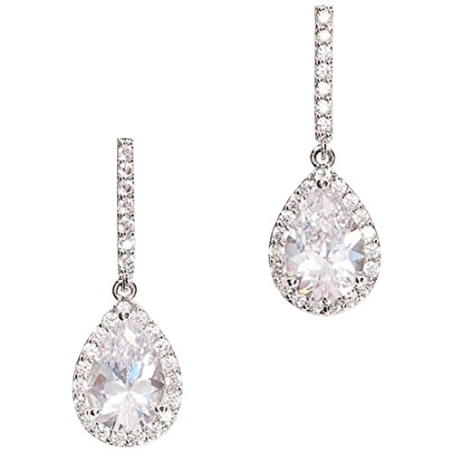 Pear Solitaire Pave Earrings Style 51579BDA, Silver