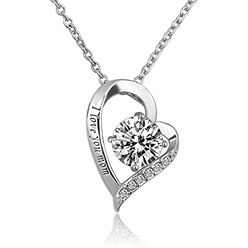 LuckyJewelry Mothers Swarovski Engraved Necklace
