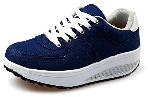 Ausom Womens Comfort Canvas Platform Wiggen Toning Schoenen Wandelen Fitness Trainen Sneaker Blauw