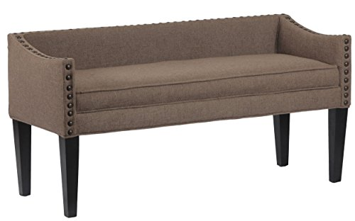 Whitney Long Upholstered Bench with Arms and Nailhead