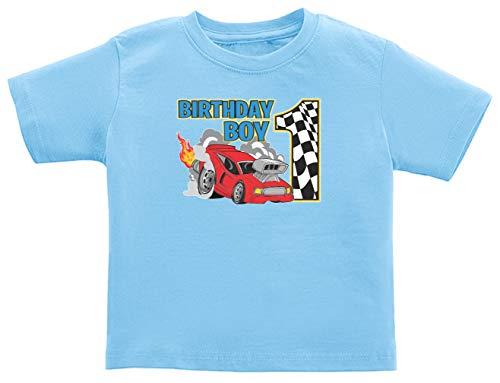 1st Bday Drag Race Birthday Racing Shirt 1st Birthday Gifts Race Car Birthday Boy Infant T-Shirt 18 Months Light Blue - Sleeve Boys Long Infant Race