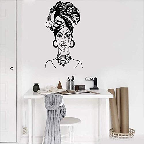 Wall Stickers Art Decor Vinyl Peel and Stick Mural Removable Decals African Woman Head Turban Native Fashion Face Tattoos for Beauty Salon]()