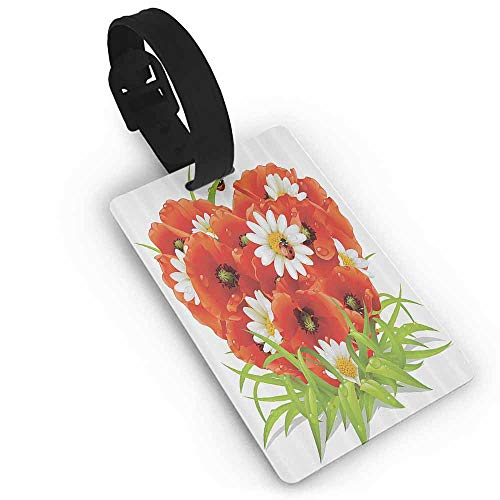New Suitcase Cartoon Luggage Ladybugs Decorations Collection,Spring Flowers in Shape of Heart Greenfield Springtime Grass Water Drops Poppy Image,Green Suitcase Tag