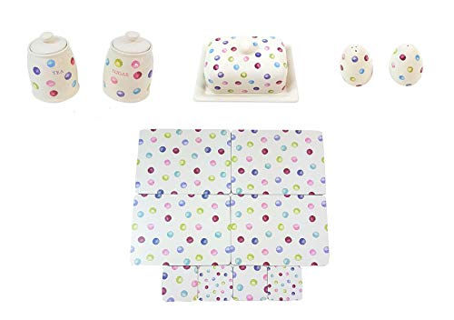 (13 PIECE PRINTED SPOTS DOTS TEA SUGAR CANISTERS BUTTER DISH SALT PEPPER SHAKERS PLACEMATS COASTERS)
