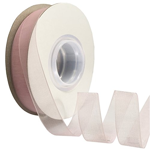 - DUOQU 1/2 inch Wide Shimmer Sheer Organza Ribbon 50 Yards Pearl Pink