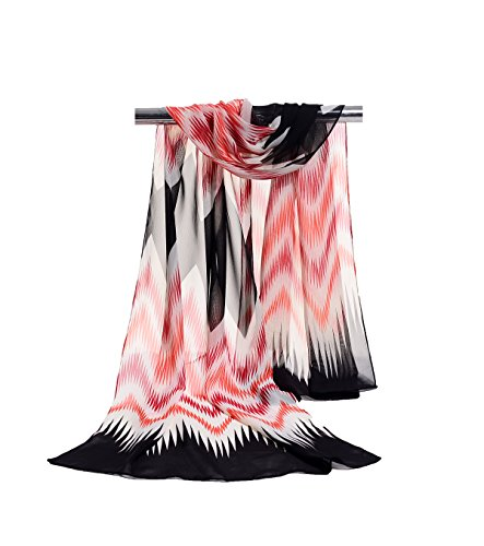 E-Clover Lightweight Chiffon Sheer Scarves: Fashion Colorful Striped Pattern Scarf for Women (BlackRedOrange)