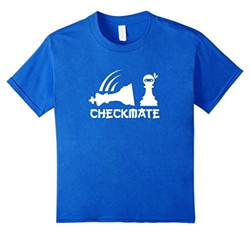 Kids Chess Ninja Master Checkmate Funny Graphic Tee Shirt gift 8 Royal Blue