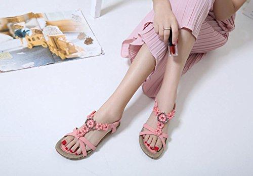 Shoes Apricot Sandali Bohemia Pink Fashion Fiori Beach Rosa Stile da Sandali Donna Dolci Estivi Etnico Black DANDANJIE HqSOwB77