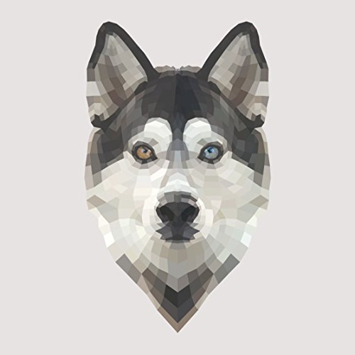 Siberian Husky Geometric Artistic Decal - Five Inch Tall Full Color Decal On 3M Reflective Material