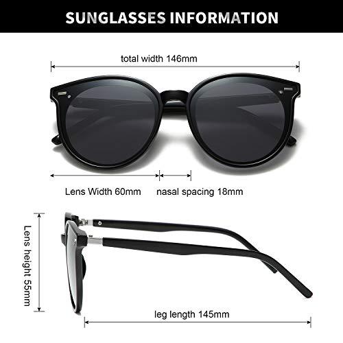 DUSHINE Classic Round Polarized Sunglasses For Women Retro Vintage UV Protection