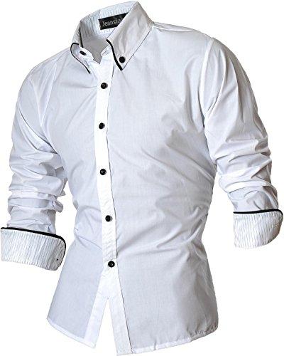 Jeansian Hombre Camisas Moda Manga Larga Men Fashion Slim Fit Casual Long Sleeves Shirts 8382 White