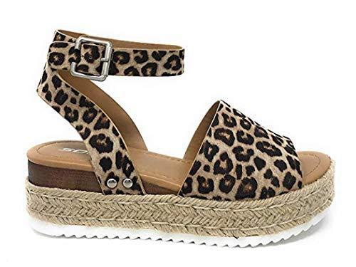 (GETSING Women Wedge Sandals Platform Espadrilles Sandals High Heel Shoes Summer Shoes Open Toe Sandals (Leopard Pattern,8 US Women))