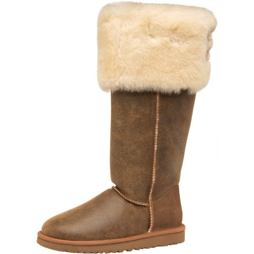 eca048203a4 Womens Ugg Over The Knee Bailey Button Boots Bomber Jacket Chestnut ...