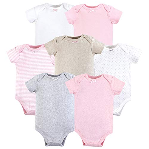 HUDSON BABY Unisex Baby Cotton Bodysuits, Girl Basics 7 Pack, 6-9 Months (9M)