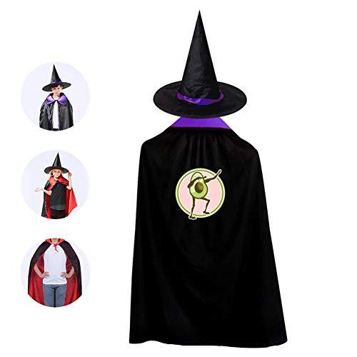 Kids Avocado Dabbing Halloween Costume Cloak for Children Girls Boys Cloak and Witch Wizard Hat for Boys Girls Purple -