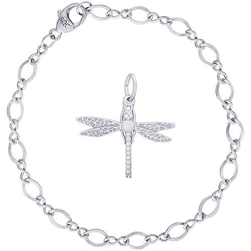 Rembrandt Charms Sterling Silver Dragonfly Charm on a Figure Eight Link Bracelet, (Figure 8 Charm)