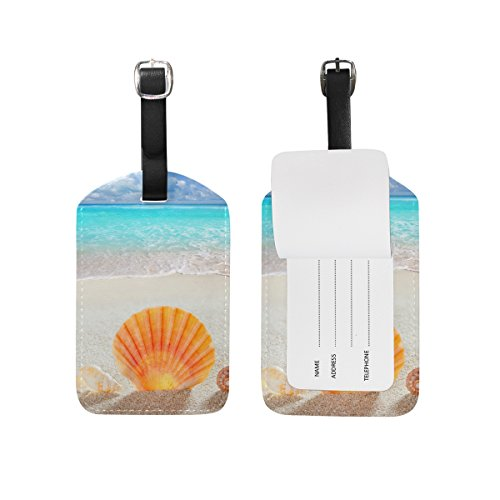 JSTEL Beach Sand Shell Tropical Luggage Tags Suitcase Labels Travel ID Identifier Privacy Cover Beach Theme Luggage Tag