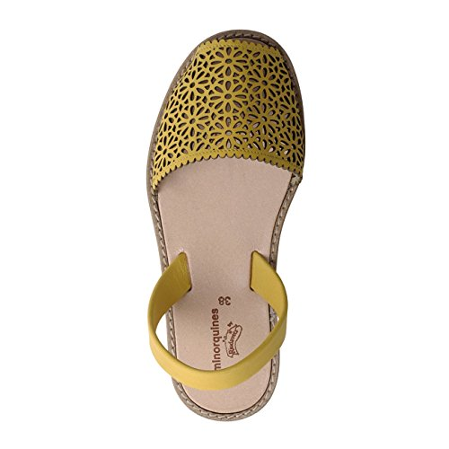 Avarca Minorquines-Sandalias de porcelana, diseño de mujer, color rojo Amarillo - amarillo