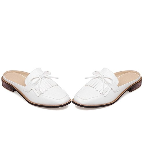 Carolbar Kvinners Firkantet Tå Bowknots Mote Uformell Komfort Patent Lær Lav Hæl Sandaler Slippers White