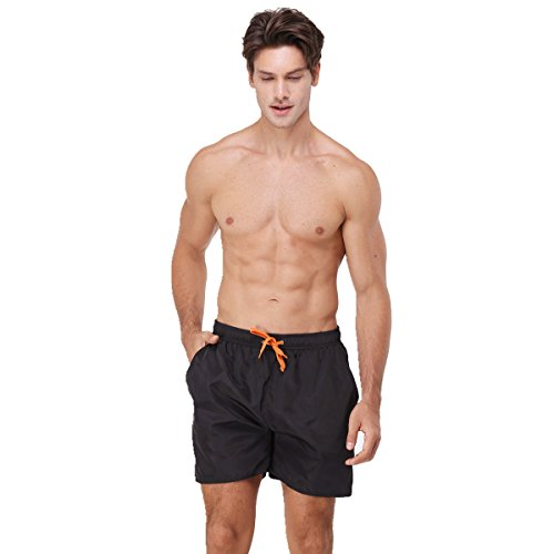 Style Black Short (youvimi Men's Striped Printed Beach Shorts Swim Trunks with Mesh Lining (Black, S))