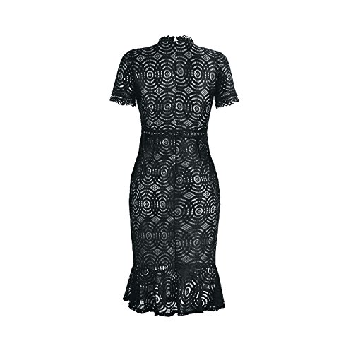 Women's Short Sleeves Sexy Lace Floral Cocktail Party Special Occasions Dresses Size S-XL (Medium, Black)