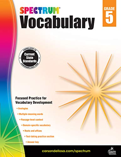Spectrum Paperback Vocabulary Book, Grade 5, Ages 10-11