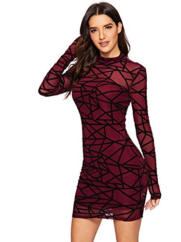 Romwe Women's See Through Mesh Long Sleeve Stretch 2 in 1 Bodycon Dress Burgundy X-Small