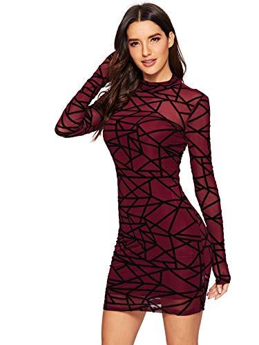 Romwe Women's See Through Mesh Long Sleeve Stretch 2 in 1 Bodycon Dress Burgundy Medium