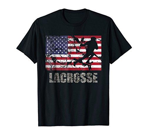 Lacrosse American Flag T-Shirt USA Flag Fan Vintage Retro