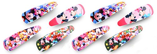 Finex - Set of 8 - Mickey Mouse Minnie Mouse and Friends Snap Clip Hair Clips Hair Accessories Set (Minnie Mouse Hair Clips)
