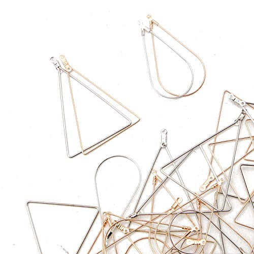 JETEHO 40pcs 4 Styles Teardrop&Triangle Beading Hoop Earring Finding with Loop for Add Beads for Earring DIY Craft(Gold/Silver)