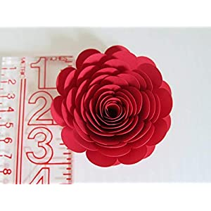 Bright Red Paper Flowers, 3 Inch Roses, Set of 6, Wedding Table Centerpiece, Love Theme Party Decorations, Bridal Shower Decor 4